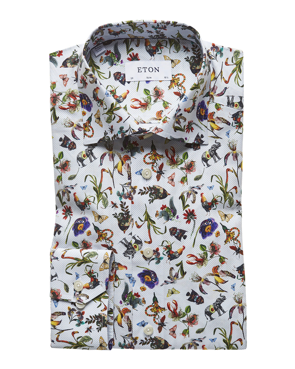 02001ca0 Eton Men's Floral-Print Slim-Fit Dress Shirt | Neiman Marcus