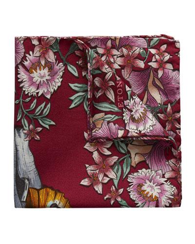 Elephant Butterfly Cotton Silk Pocket Square