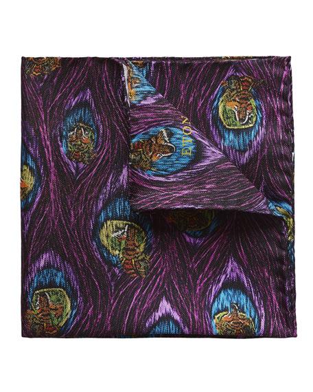 Eton Wolf & Peacock Silk Pocket Square