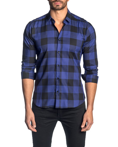Jared Lang Men's Check Cotton Sport Shirt, Purple Navy