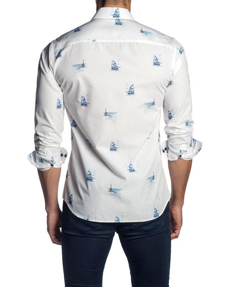Jared Lang Men's Sailing Print Sport Shirt