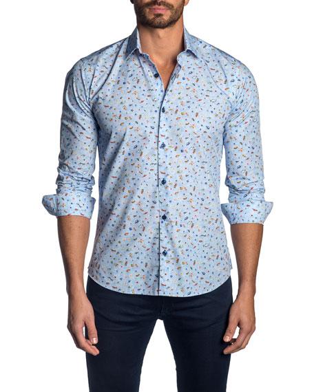 Jared Lang Men's Ocean-Print Sport Shirt