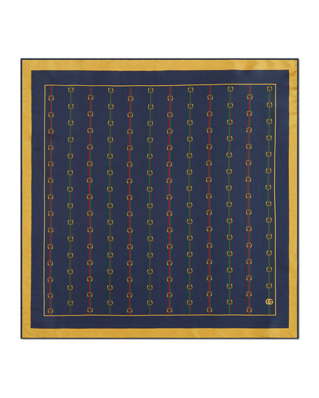 Gucci Men's Horsebit Silk Pocket Square