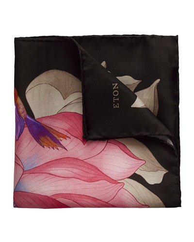 Lotus & Koi Fish Silk Pocket Square