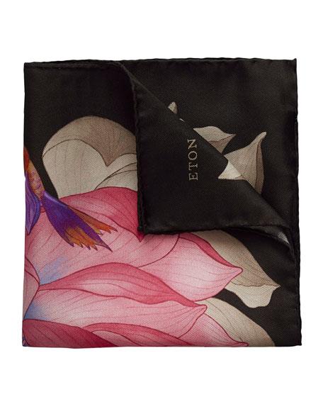 Eton Lotus & Koi Fish Silk Pocket Square