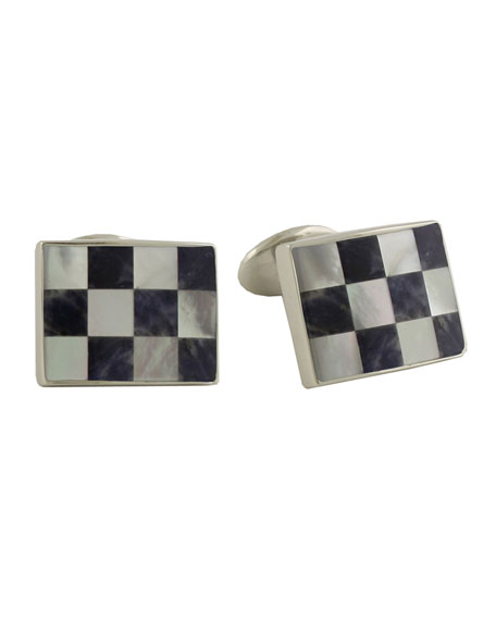 David Donahue Sodalite & Mother-Of-Pear Square Cufflinks