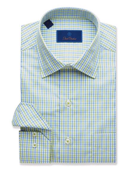 David Donahue Men's Two-Tone Grid Sport Shirt, Grass