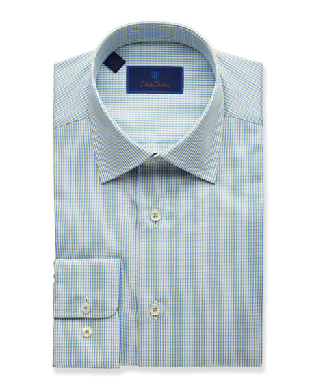 David Donahue Men's Two-Tone Grid Regular-Fit Dress Shirt, Grass