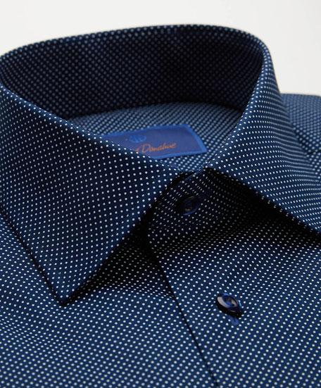 David Donahue Men's Dot-Textured Trim-Fit Dress Shirt