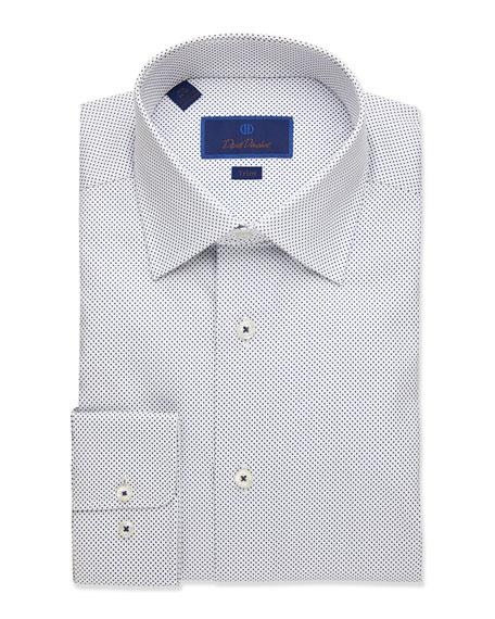 David Donahue Men's Trim-Fit Dot-Pattern Dress Shirt