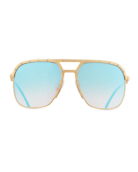 Image 2 of 3: Vintage Frames Company Men's Axel Gold-Plated Aviator Sunglasses