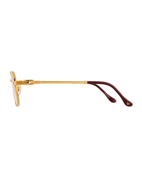 Image 3 of 3: Vintage Frames Company Men's Detroit Player Gold-Plated Round Sunglasses