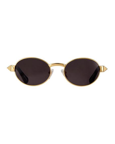 Vintage Frames Company Men's The Biz Gold-Plated Oval Sunglasses