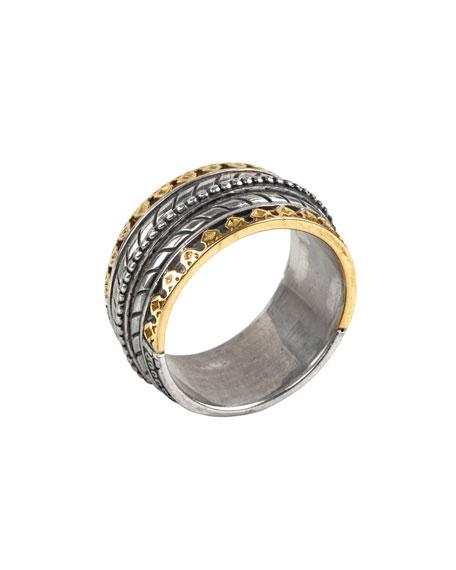 Konstantino Men's Sterling Silver Band Ring w/ 18k Gold Trim