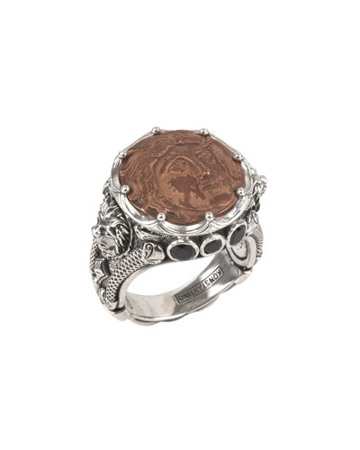 Men's Copper Coin Sterling Silver Ring