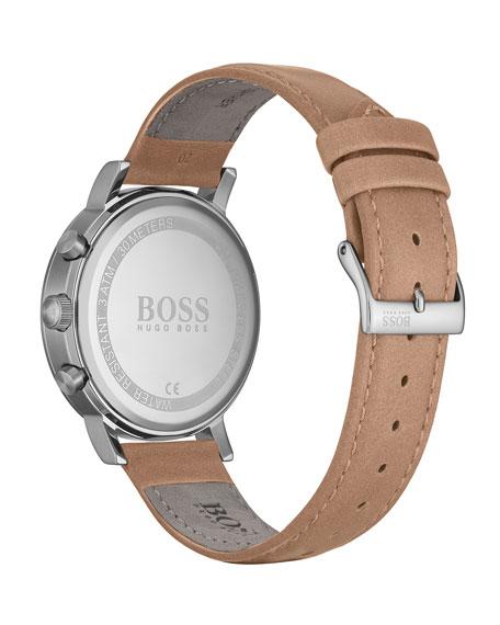 Hugo Boss Men's Spirit Chronograph Watch with Beige Leather Strap
