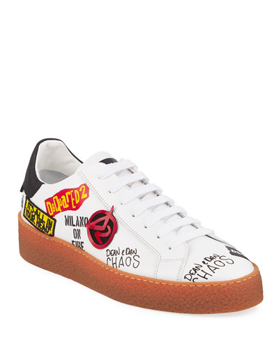Men's Graffiti Low-Top Leather Sneakers