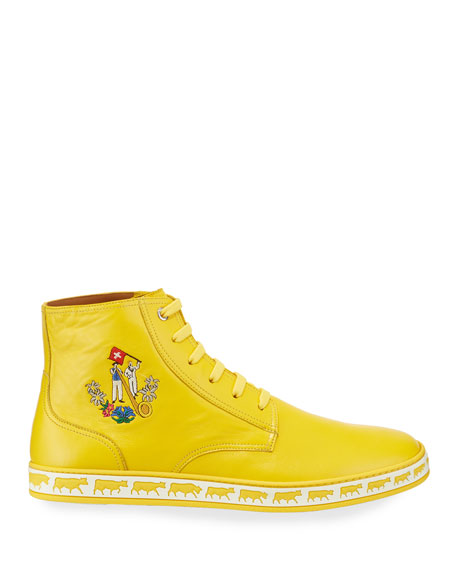 Bally Men's Alpistar Leather High-Top Sneakers, Yellow