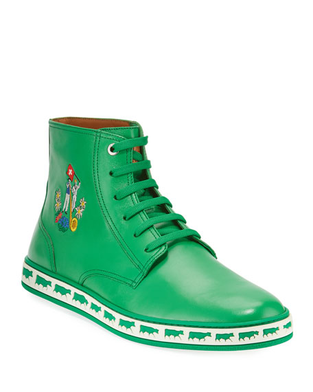 Bally Men's Alpistar Leather High-Top Sneakers, Green