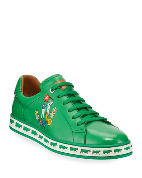 Bally Men's Anistern Leather Low-Top Sneakers, Green