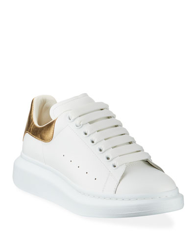 Men's Leather Platform Sneakers with Metallic Back
