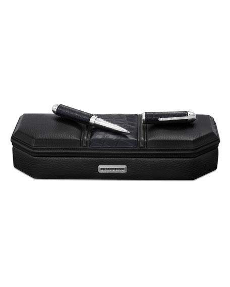 Stefano Ricci Leather & Crocodile Desktop Pen Case