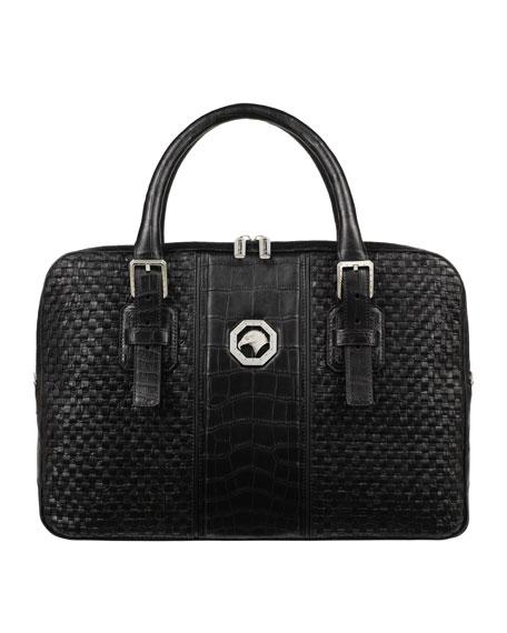Stefano Ricci Men's Woven Leather Business Bag w/ Crocodile Trim