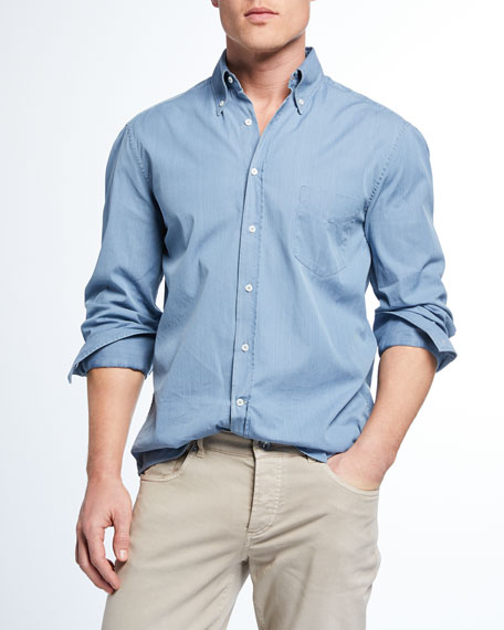 Brunello Cucinelli Men's Basic Fit Chambray Sport Shirt