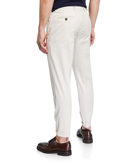 Brunello Cucinelli Men's Flat-Front Twill Pants