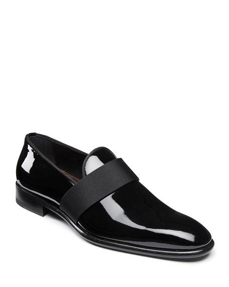 Santoni Shoes MEN'S ISOMER PATENT SLIP-ON