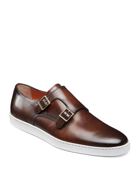 Santoni Sneakers MEN'S FREEMONT DOUBLE-MONK LEATHER SNEAKERS