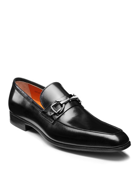 Santoni Loafers MEN'S IVO LEATHER LOAFERS, BLACK