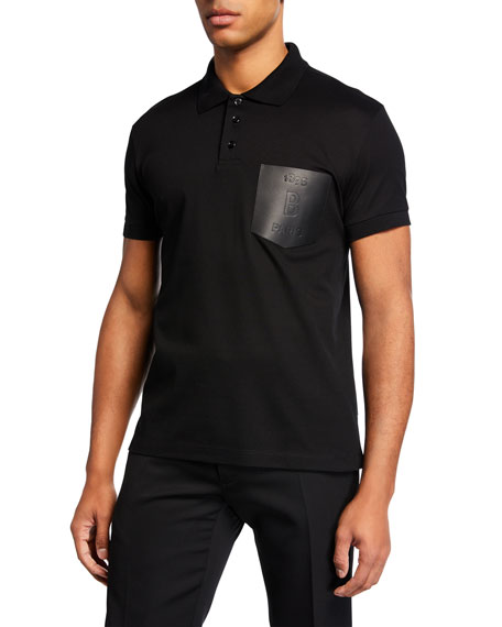 Berluti Men's Leather-Trim Polo Shirt