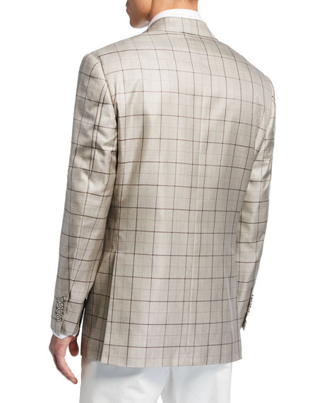 Image 2 of 3: Stefano Ricci Men's Grid-Pattern Cashmere-Blend Two-Button Jacket