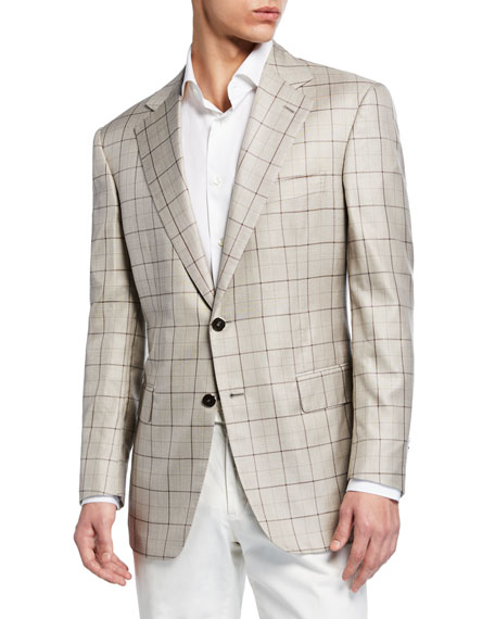 Image 1 of 3: Stefano Ricci Men's Grid-Pattern Cashmere-Blend Two-Button Jacket