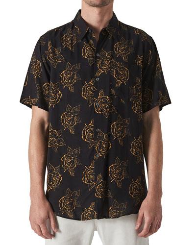 Men's Roses Short-Sleeve Sport Shirt