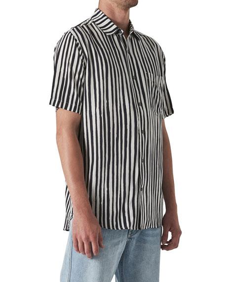 Neuw Men's Work Stripes Pocket Short-Sleeve Sport Shirt