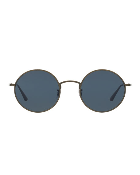 Oliver Peoples The Row Men's After Midnight Round Metal Sunglasses