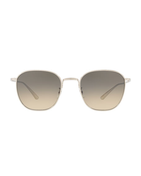 Image 2 of 2: Oliver Peoples The Row Men's Board Meeting Square Gradient Titanium Sunglasses
