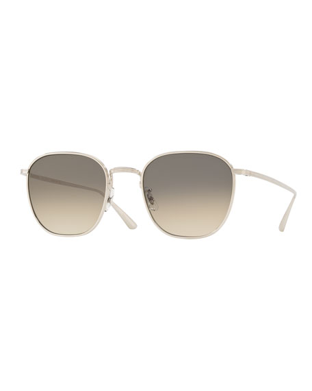Image 1 of 2: Oliver Peoples The Row Men's Board Meeting Square Gradient Titanium Sunglasses
