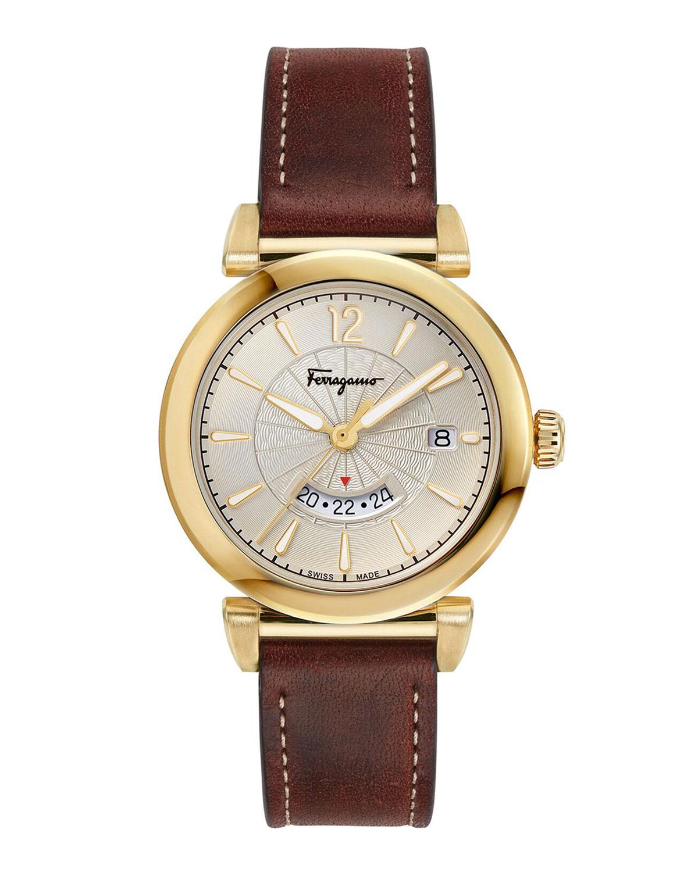 5870faa143e Salvatore Ferragamo Men's Feroni Gold IP GMT Watch with Brown Leather Strap