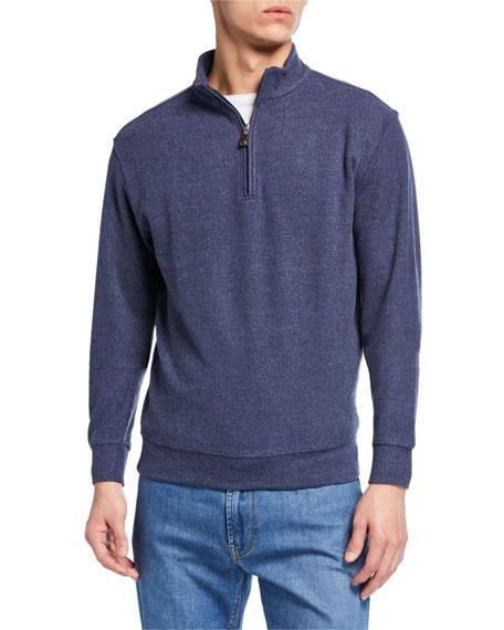 Peter Millar Men's Quarter-Zip Melange Tri-Blend Fleece Sweater