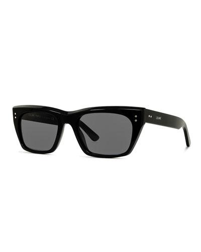 Men's Square Acetate Sunglasses, Black