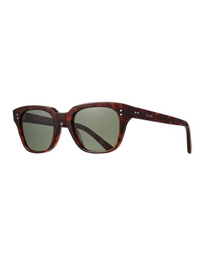 Men's Square Acetate Sunglasses, Red Pattern