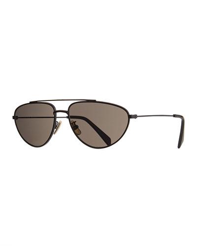 Men's Metal Pilot Sunglasses, Black