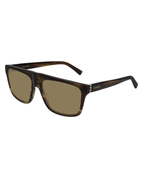 Gucci Men's Nylon Flat-Top Sunglasses