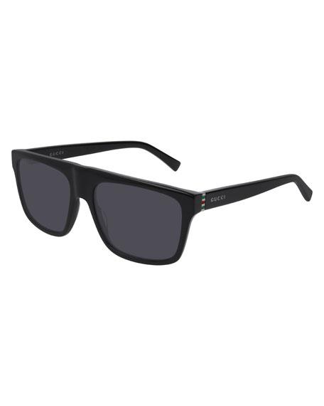 Gucci Men's Nylon Flat-Top Sunglasses