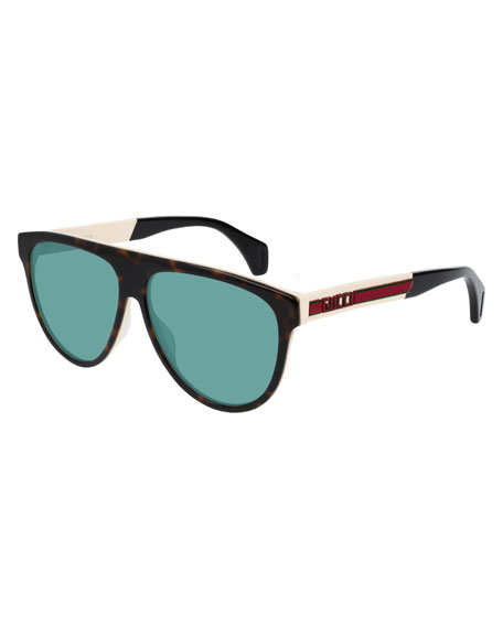 Gucci Men's Nylon Flat-Top Rounded Sunglasses