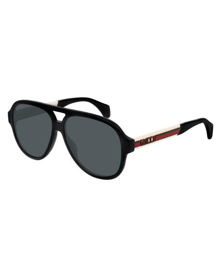 Gucci Men's Polarized Nylon Pilot Sunglasses