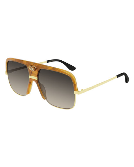 Gucci Men's Aviator Sunglasses with Exaggerated Logo Brow